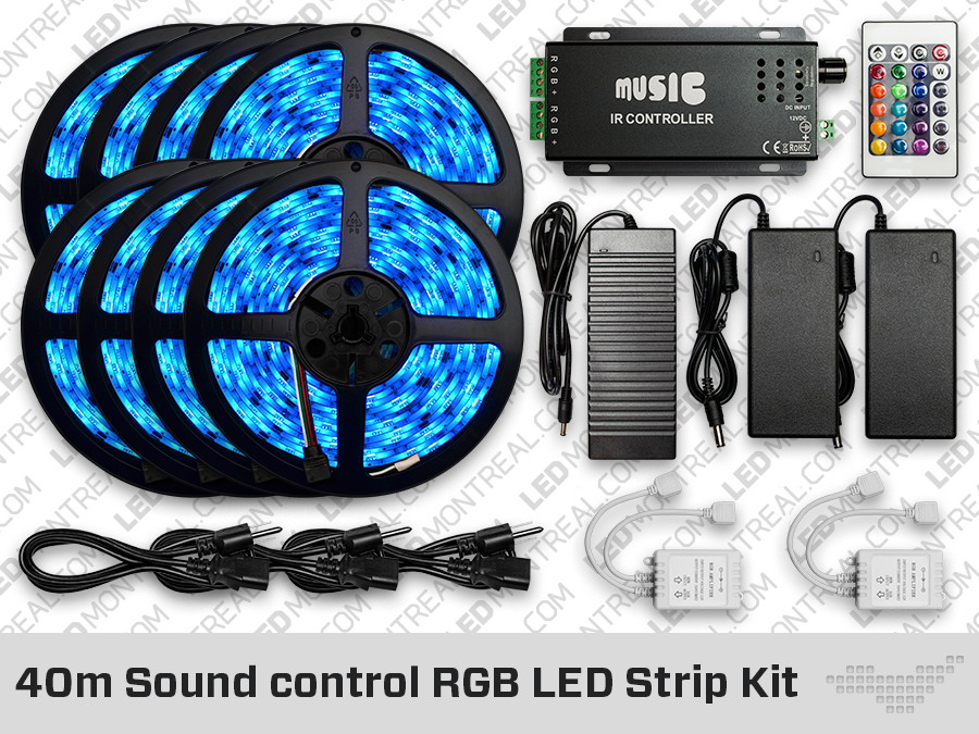 20m to 40m sound control rgb led strip kit led montreal. Black Bedroom Furniture Sets. Home Design Ideas