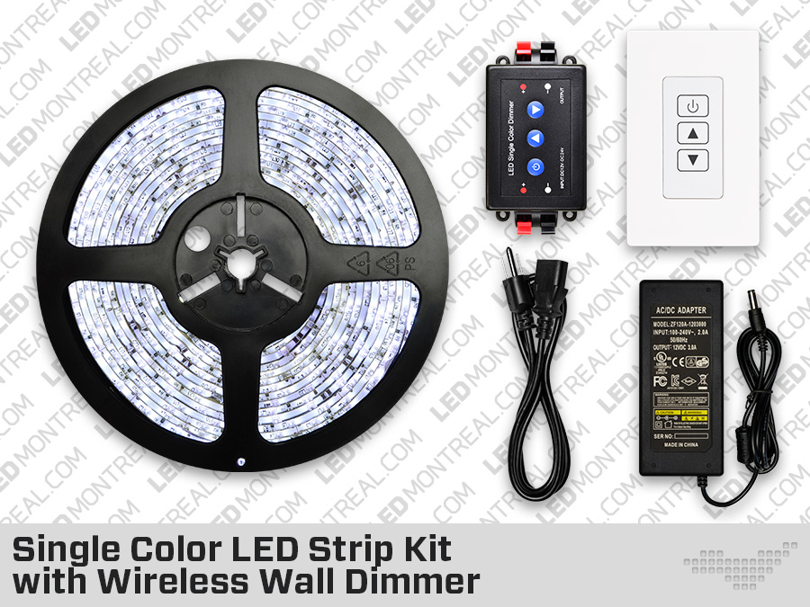 single color led strip with wireless wall dimmer bundle led montreal. Black Bedroom Furniture Sets. Home Design Ideas