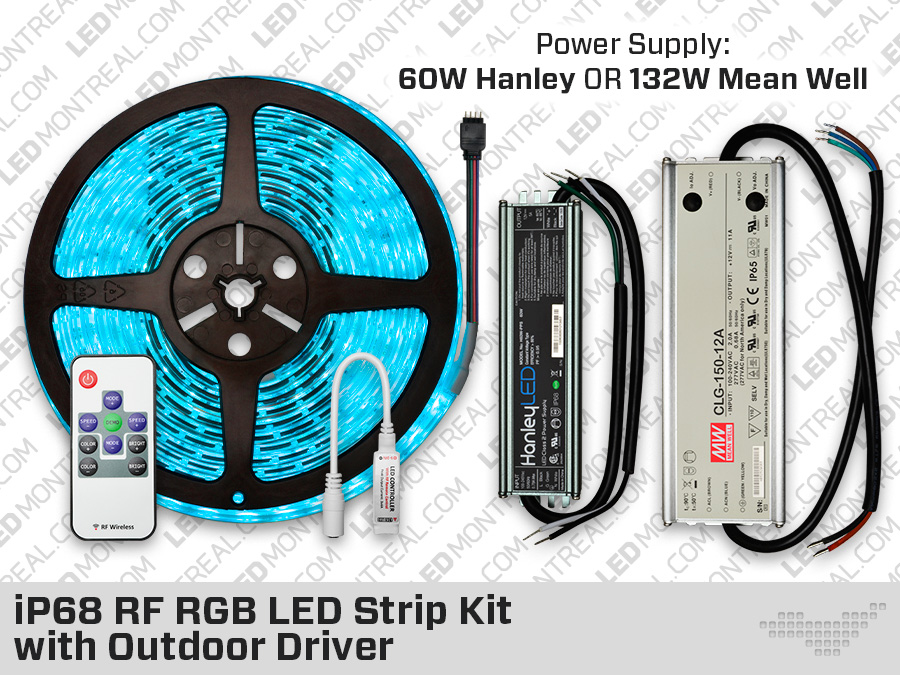 IP68 RGB LED Strip Kit with Mean Well Outdoor Driver  LED