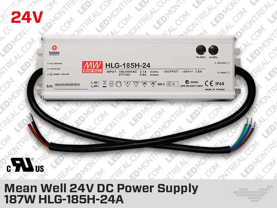 Transfo ext rieur mean well 24v dc 187w 7 8a hlg 185 24a for Exterieur meaning