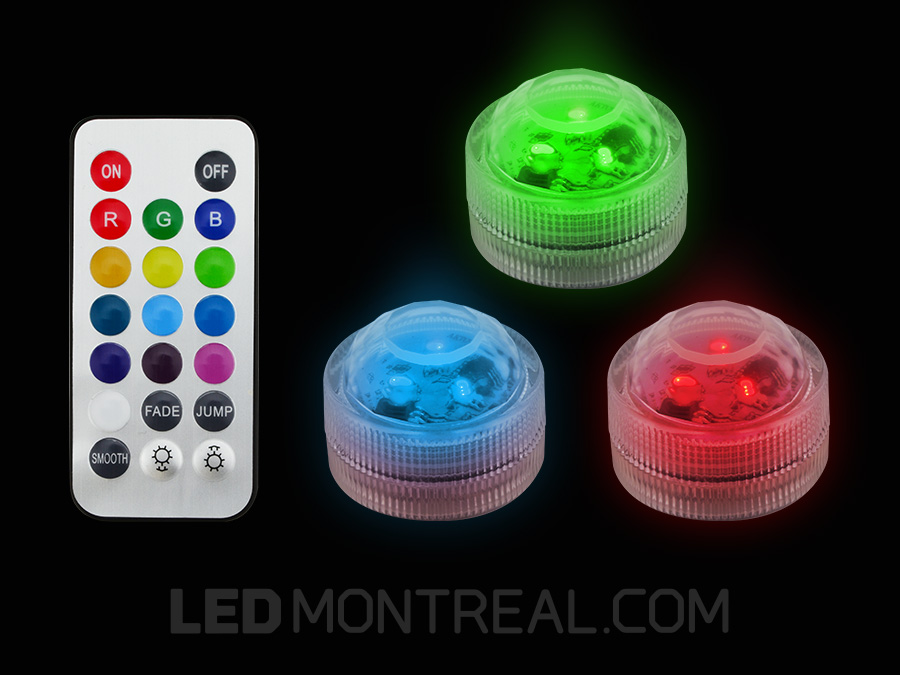 submersible battery powered rgb led puck light led montreal. Black Bedroom Furniture Sets. Home Design Ideas