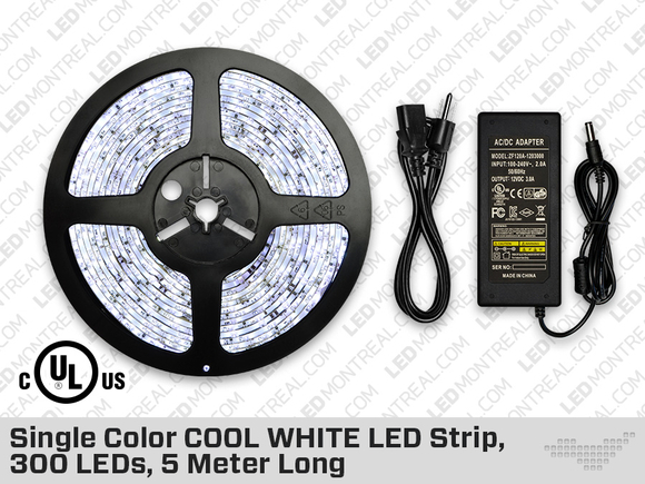 Single Color COOL WHITE LED Strip 300 LEDs 5 meter with Dimmer