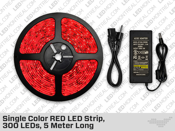 Single Color RED LED Strip, 300 LEDs, 5 meter with Dimmer