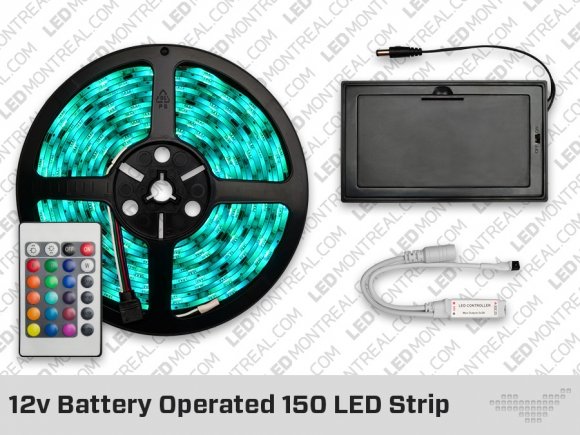 12v battery powered 150 led strip with 24 key remote led. Black Bedroom Furniture Sets. Home Design Ideas