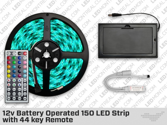 12v Battery Operated 150 LED Strip with 24 key Remote