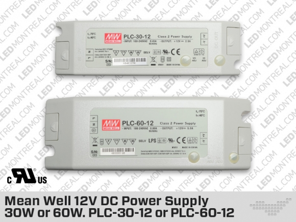Mean Well 12V DC Power Supply 30W or 60W. PLC-30-12 or PLC-60-12