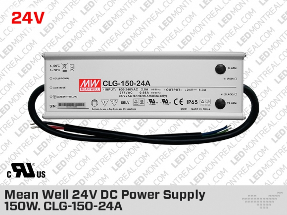 Mean Well Outdoor 24V DC Power Supply 150W 6.3A (CLG-150-24A)
