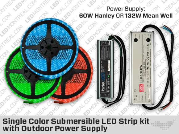 IP68 Red, Green or Blue LED Strip Kit with Outdoor Driver