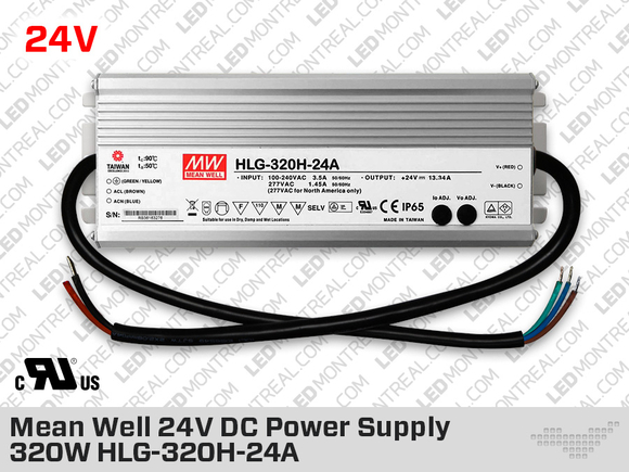 Mean Well Outdoor 24V DC Power Supply 240W 10A HLG-240H-24A
