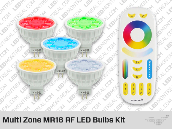 Kit RF Multi Zone d'Ampoules LED MR16 RGB+CW+WW
