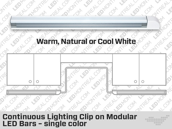 Continuous Lighting Clip on Modular LED Bars – Single Color