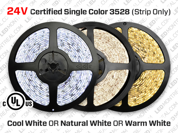 UL Listed 24V iP65 3528 LED Strip - 120LED/m
