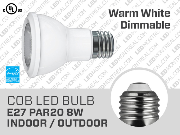 8W Dimmable COB LED Bulb E27 PAR20