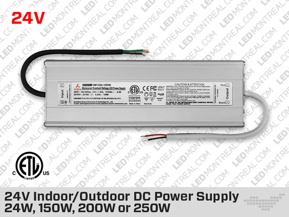 24V DC iP67 Indoor / Outdoor LED Driver 150W - 200W - 250W