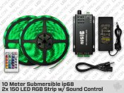 10 Meter 2x 150 ip68 Submersible LED RGB Strip with Sound Control