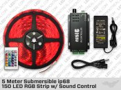 5 Meter Submersible ip68 150 LED RGB Strip Sound Control