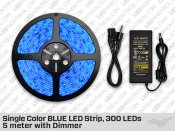 Single Color BLUE LED Strip, 300 LEDs, 5 meter with Dimmer