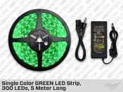 Single Color GREEN LED Strip, 300 LEDs, 5 meter with Dimmer