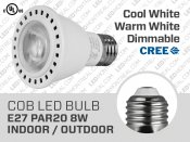 8W CREE Dimmable COB LED Bulb E27 PAR20