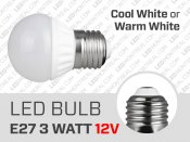 3W E27 Cool or Warm White LED Light Bulb