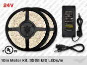 24V 10m Single Color 3528 120 LED/m LED Strip Kit