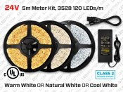 24V iP65 5m Single Color 3528 120 LED/m LED Strip Kit
