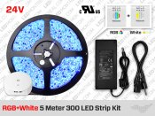 24V iP20 RGB+W 5m 300 LED Strip Bundle Blue Tooth Controller