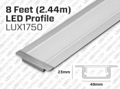 8 feet, 75 mm wide Recessed U shape profile for LED Strip