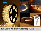 Cordon LED 120V Blanc Chaud ou Blanc Froid 25m