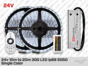 24V IP68 10 to 20m 300 White 5050 LED Strip Kit with Outdoor Driver