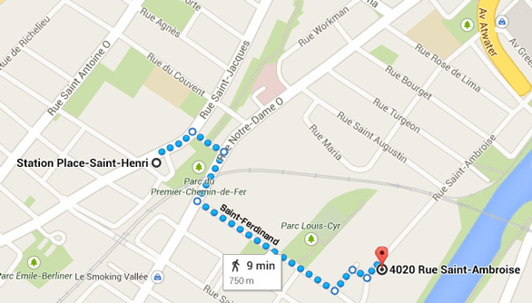 How to get to led montreal by walk from metro place st-henri