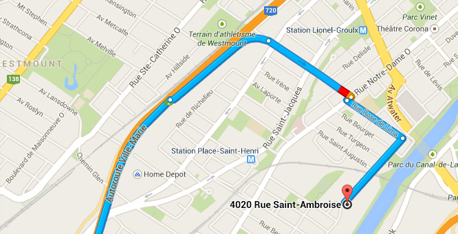 How to get to LED Montreal from highway 720 east