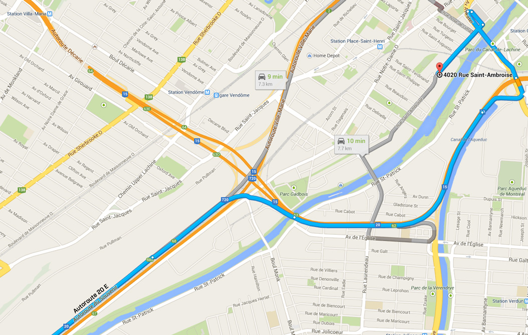How to get to LED Montreal from Autoroute 20 east