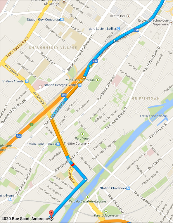How to get to LED Montreal from downtown using the 720 highway