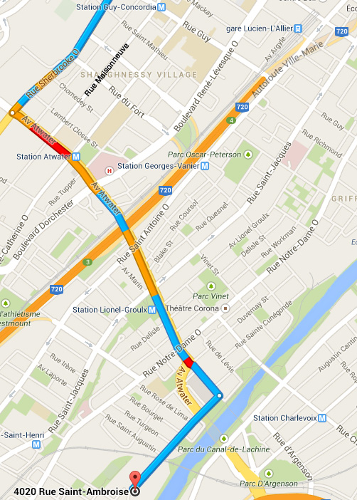 How to get to LED Montreal from downtown via the streets