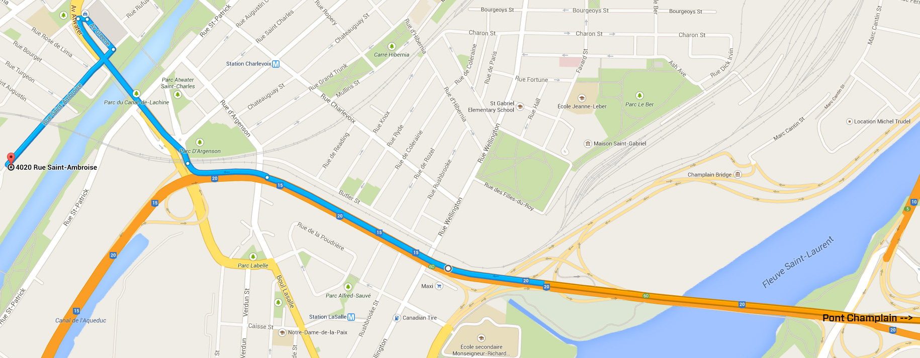 how to get to LED Montreal from pont champlain