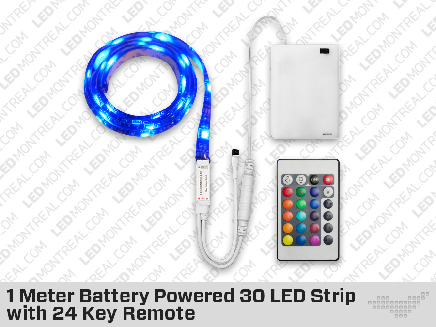 62d3c66254a3 1 Meter Battery Powered RGB LED Strip with 24 Key Remote- LED ...