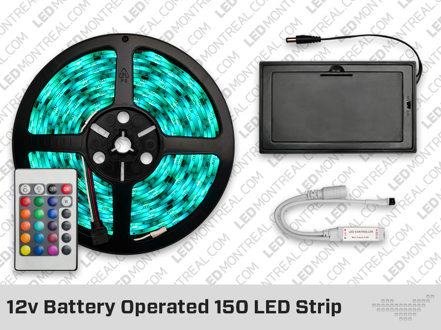 12v Battery Powered 150 Led Strip With 24 Key Remote Led Montreal