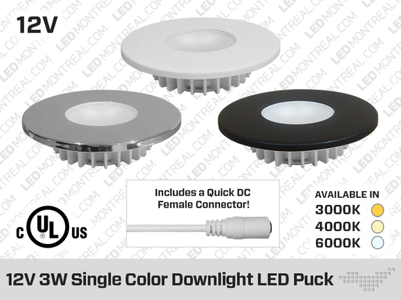 12V 3W Single Color Professional Grade 80mm Downlight LED Puck