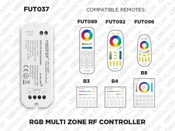 1 to 8 Zones Self repeating RF RGB LED controller (FUT 37)