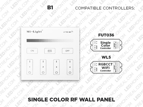 B1 - 4 Zone RF Wall Panel for Single Color