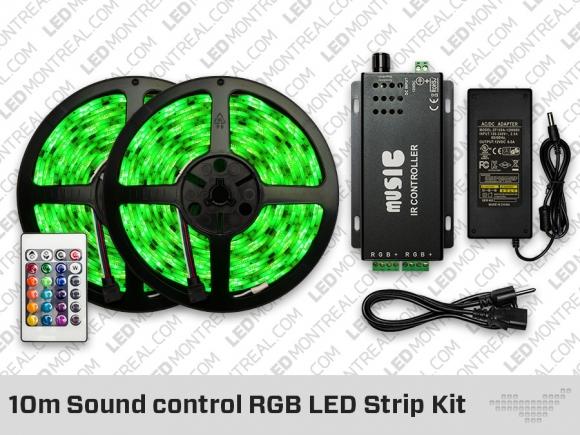 10 Meter Sound Control Rgb Led Strip Kit Led Montreal