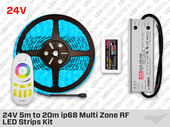 24V IP68 300 RGB LED Strip Kit with Outdoor Driver - 5 to 20m