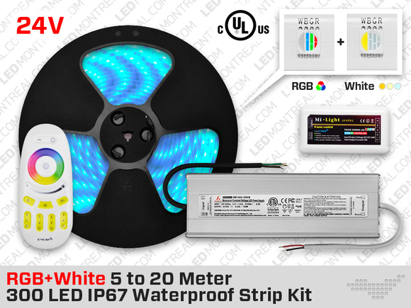 24V IP68 300 RGB+W LED Strip Kit with Outdoor Driver - 10 to 20m