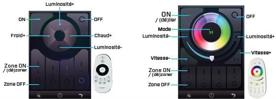 milight wifi controller options et display pour rgbw et couleur unique