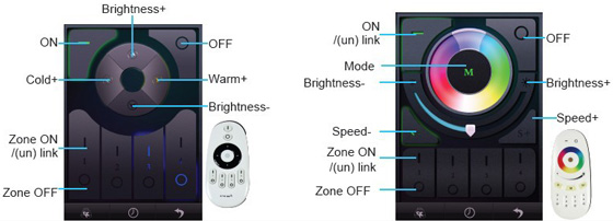 milight wifi controller options and display for rgbw and single color