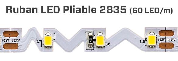 Ruban 300 LED 2835 pliable 12V couleur unique