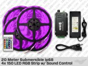 20 Meter 4x 150 ip68 Submersible LED RGB Strip with Sound Control