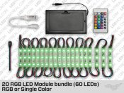 20 RGB LED Module Bundle (60 LEDs) with Battery Pack