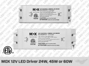 MOX 12V DC Power Supply 30W or 60W. PLC-30-12 or PLC-60-12
